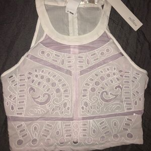 sheer white and light purple MILLAU top size M